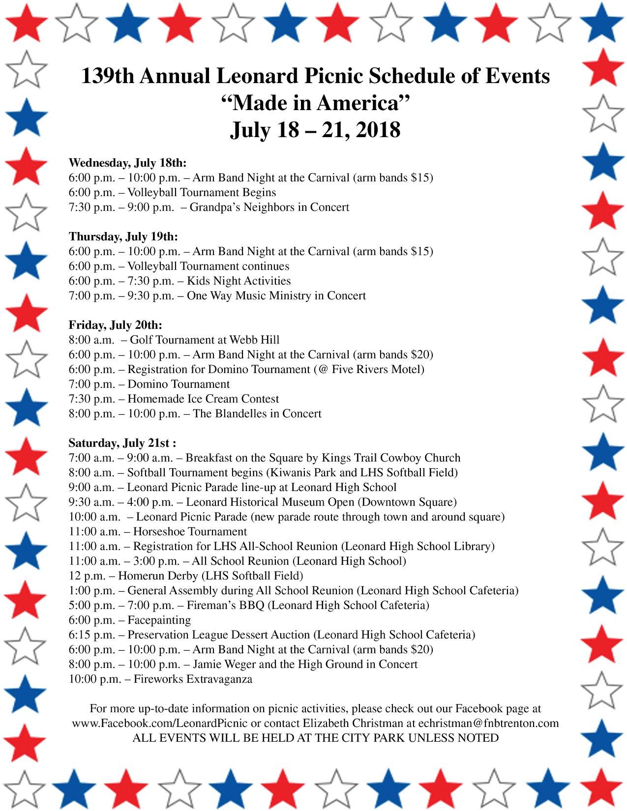 2018 Leonard Picnic Schedule – Leonard, Texas Chamber of