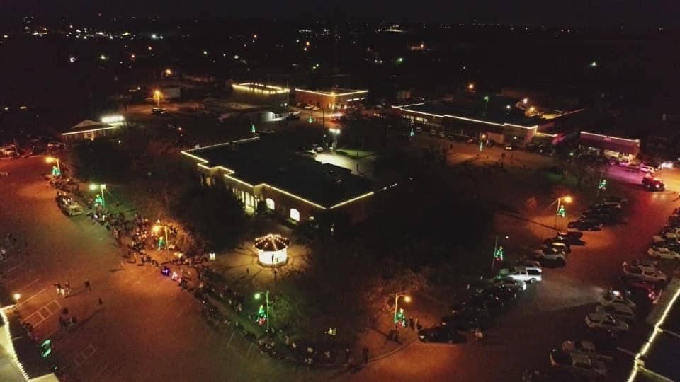 overhead of Leonard Square at night